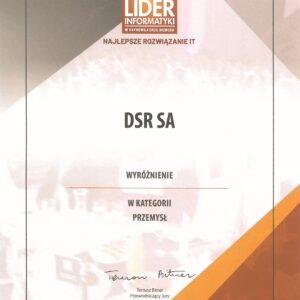 Lider Informatyki 2018 - wyróżnienie dla DSR