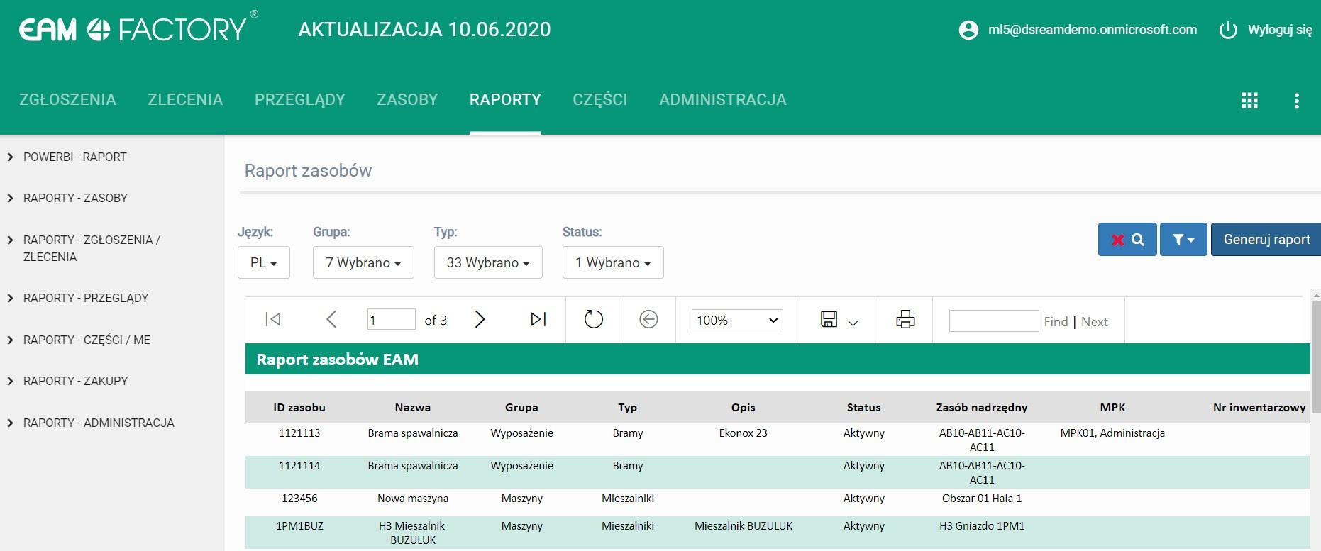 EAM 4FACTORY- nowy interfejs aplikacji