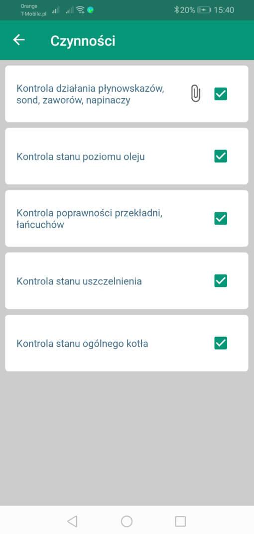 Listy kontrolne czynności dla przeglądów prewencyjnych - aplikacja mobilna