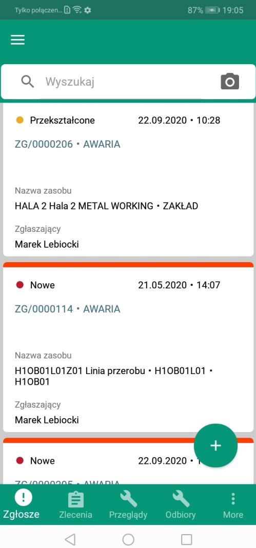Aktualizacja ekranu zezgłoszeniami popodjęciu zgłoszenia wzlecenie