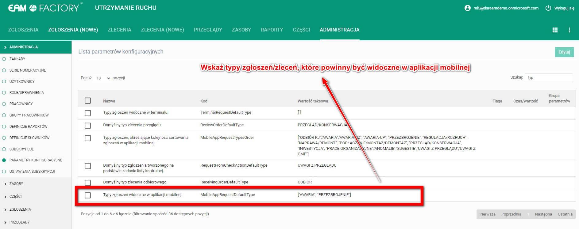 Wybrane typy zgłoszeń widoczne waplikacji mobilnej_test